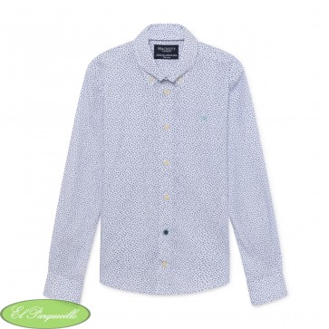 NVY FLRL DOTTY PRINT SHIRT