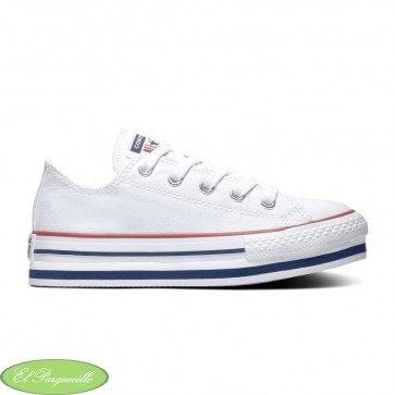 Zapatillas converse blancas de lona con plataformas para niñas, adolescentes y señora