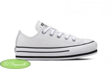 Zapatillas converse de piel con plataforma en color blanco