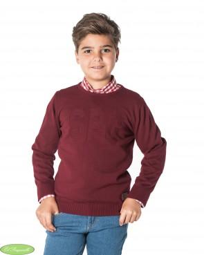 Jersey Spagnolo de niño burdeos cuello caja