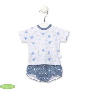 Conjunto Tous bebé blanco azul