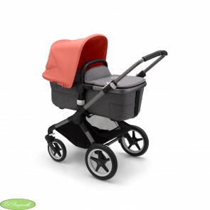 Bugaboo Fox 3 con chasis color grafito y textiles color gris melange capota Rojo amanecer