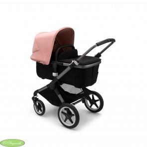Bugaboo Fox 3 con chasis color GRAPHITE y textiles color Negro capota rosa de mañana